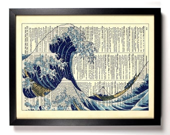Great Wave, Home, Kitchen, Nursery, Bathroom, Office Decor, Wedding Gift, Eco Friendly Book Art, Vintage Dictionary Print, 8 x 10 in.
