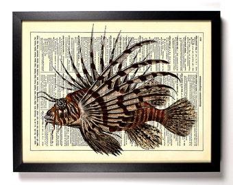 Lionfish Venomous Reef, Home, Kitchen, Nursery, Bath, Office Decor, Wedding Gift, Eco Friendly Book Art, Vintage Dictionary Print 8 x 10 in.