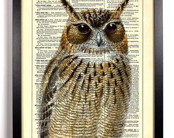 Upclose Owl, Home, Kitchen, Nursery, Bathroom, Office Decor, Wedding Gift, Eco Friendly Book Art, Vintage Dictionary Print, 8 x 10 in.