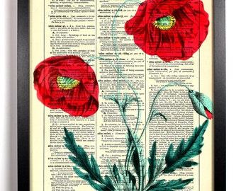 Wild Poppy Flowers, Home, Kitchen, Nursery, Bath, Office Decor, Wedding Gift, Eco Friendly Book Art, Vintage Dictionary Print 8 x 10 in.