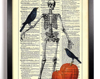 Skeleton Scarecrow Pumpkin Patch, Home, Kitchen, Bath, Office Decor, Wedding Gift, Eco Friendly Book Art, Vintage Dictionary Print 8 x 10 in