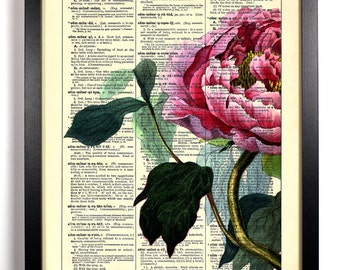 Garden Collection 4, Home, Kitchen, Nursery, Bath, Office Decor, Wedding Gift, Eco Friendly Book Art, Vintage Dictionary Print 8 x 10 in.