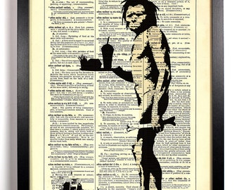 Banksy Fast food Caveman, Home, Kitchen, Nursery, Office Decor, Wedding Gift, Eco Friendly Book Art, Vintage Dictionary Print 8 x 10 in.