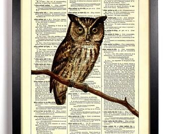 Owl Staring, Home, Kitchen, Nursery, Bathroom, Dorm, Office Decor, Wedding Gift, Eco Friendly Book Art, Vintage Dictionary Print 8 x 10 in.