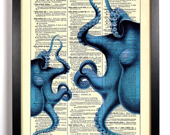Blue Octopus, Home, Kitchen, Nursery, Bathroom, Office Decor, Wedding Gift, Eco Friendly Book Art, Vintage Dictionary Print, 8 x 10 in.