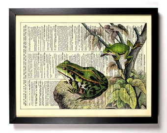 Being Green Frog, Home, Kitchen, Nursery, Bath, Office Decor, Wedding Gift, Eco Friendly Book Art, Vintage Dictionary Print 8 x 10 in.