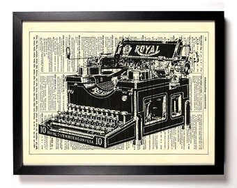 Royal Typewriter, Home, Kitchen, Nursery, Bath, Office Decor, Wedding Gift, Eco Friendly Book Art, Vintage Dictionary Print 8 x 10 in.