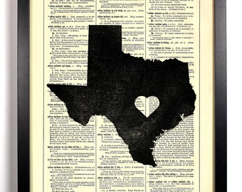 Texas State Map, Home, Kitchen, Nursery, Bath, Office Decor, Wedding Gift, Eco Friendly Book Art, Vintage Dictionary Print 8 x 10 in.