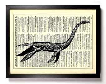 Loch Ness Monster Skeleton, Home, Kitchen, Nursery, Office Decor, Wedding Gift, Eco Friendly Book Art, Vintage Dictionary Print 8 x 10 in.