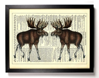 Forest Moose, Home, Kitchen, Nursery, Bath, Office Decor, Wedding Gift, Eco Friendly Book Art, Vintage Dictionary Print 8 x 10 in.