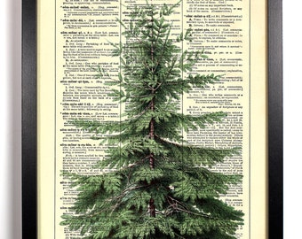 Christmas Tree, Home, Kitchen, Nursery, Bathroom, Office Decor, Wedding Gift, Eco Friendly Book Art, Vintage Dictionary Print, 8 x 10 in.