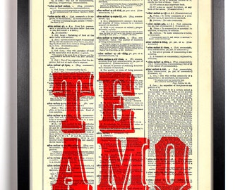 Te Amo I Love You, Home, Kitchen, Nursery, Bath, Office Decor, Wedding Gift, Eco Friendly Book Art, Vintage Dictionary Print 8 x 10 in.