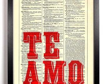 Te Amo I Love You, Home, Kitchen, Nursery, Bath, Office Decor, Wedding Gift, Eco Friendly Book Art, Vintage Dictionary Print 8 x 10 in.