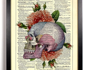 Colorful Skull With Roses, Home, Kitchen, Nursery, Office Decor, Wedding Gift, Eco Friendly Book Art, Vintage Dictionary Print 8 x 10 in.