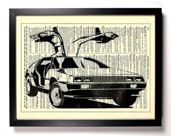 DeLorean, Home, Kitchen, Nursery, Dorm, Bathroom, Office Decor, Wedding Gift, Eco Friendly Book Art, Vintage Dictionary Print, 8 x 10 in.