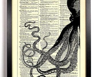 Black Ink Octopus, Home, Kitchen, Nursery, Bathroom, Office Decor, Wedding Gift, Eco Friendly Book Art, Vintage Dictionary Print, 8 x 10 in.