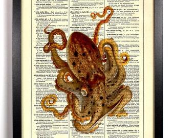 Epic Octopus, Home, Kitchen, Nursery, Bathroom, Dorm, Office Decor, Wedding Gift, Eco Friendly Book Art, Vintage Dictionary Print 8 x 10 in.
