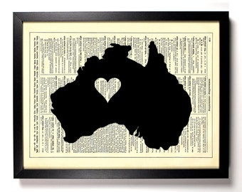 Australia Map, Home, Kitchen, Nursery, Bath, Office Decor, Wedding Gift, Eco Friendly Book Art, Vintage Dictionary Print 8 x 10 in.