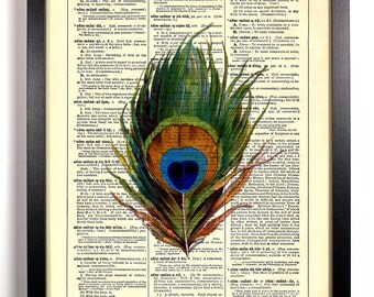 Beautiful Peacock Feather, Home, Kitchen, Nursery, Office Decor, Wedding Gift, Eco Friendly Book Art, Vintage Dictionary Print 8 x 10 in.