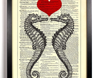 Seahorse Love, Home, Kitchen, Nursery, Bath, Office Decor, Wedding Gift, Eco Friendly Book Art, Vintage Dictionary Print 8 x 10 in.