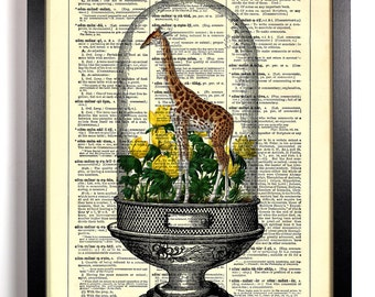Giraffe Terrarium, Home, Kitchen, Nursery, Bathroom, Office Decor, Wedding Gift, Eco Friendly Book Art, Vintage Dictionary Print, 8 x 10 in.