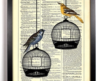 Two Birds Free To Fly, Home, Kitchen, Nursery, Bath, Office Decor, Wedding Gift, Eco Friendly Book Art, Vintage Dictionary Print 8 x 10 in.