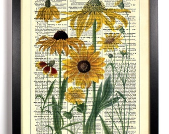 Yellow Daisies Home, Kitchen, Nursery, Bathroom, Office Decor, Wedding Gift, Eco Friendly Book Art, Vintage Dictionary Print, 8 x 10 in.