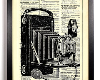 Antique Bellowed Camera, Home, Kitchen, Nursery, Bath, Office Decor, Wedding Gift, Eco Friendly Book Art, Vintage Dictionary Print 8 x 10 in