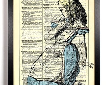 Alice Is Lost Alice In Wonderland, Home, Kitchen, Nursery Decor, Wedding Gift, Eco Friendly Book Art, Vintage Dictionary Print 8 x 10 in.