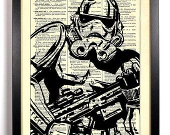 Star Wars Stormtrooper, Home, Kitchen, Nursery, Bath, Office Decor, Wedding Gift, Eco Friendly Book Art, Vintage Dictionary Print 8 x 10 in.