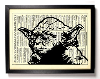 Star Wars Master Yoda, Home, Kitchen, Nursery, Bath, Office Decor, Wedding Gift, Eco Friendly Book Art, Vintage Dictionary Print 8 x 10 in.