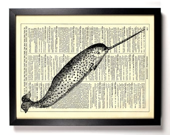 Narwhal Engraving, Home, Kitchen, Nursery, Bath, Office Decor, Wedding Gift, Eco Friendly Book Art, Vintage Dictionary Print 8 x 10 in.