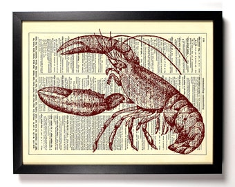Lobster In Action, Home, Kitchen, Nursery, Bath, Office Decor, Wedding Gift, Eco Friendly Book Art, Vintage Dictionary Print 8 x 10 in.