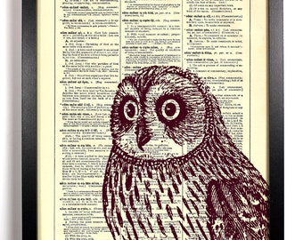 Marroon Peeping Owl, Home, Kitchen, Nursery, Bath, Office Decor, Wedding Gift, Eco Friendly Book Art, Vintage Dictionary Print 8 x 10 in.
