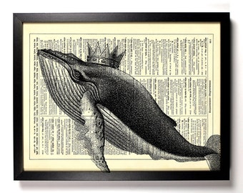 Whale King, Home, Kitchen, Nursery, Bath, Office Decor, Wedding Gift, Eco Friendly Book Art, Vintage Dictionary Print 8 x 10 in.