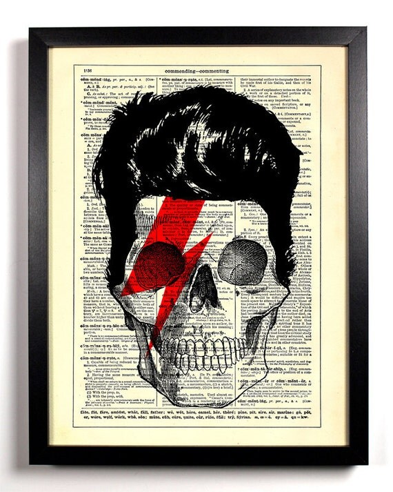 David Bowie Skull, Home, Kitchen, Nursery, Bath, Office Decor, Wedding Gift, Eco Friendly Book Art, Vintage Dictionary Print 8 x 10 in.