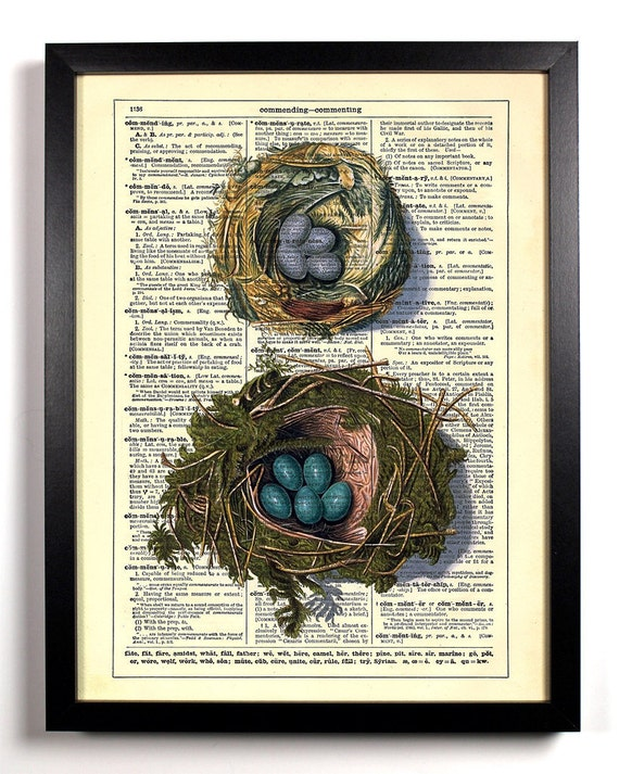 Tiny Birds nests Bird Eggs, Home, Kitchen, Nursery, Office Decor, Wedding Gift, Eco Friendly Book Art, Vintage Dictionary Print 8 x 10 in.