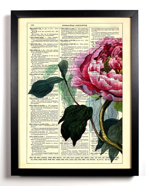 Garden Collection 4, Home, Kitchen, Nursery, Bath, Office Decor, Wedding Gift, Eco Friendly Book Art, Vintage Dictionary Print 8 x 10 in.