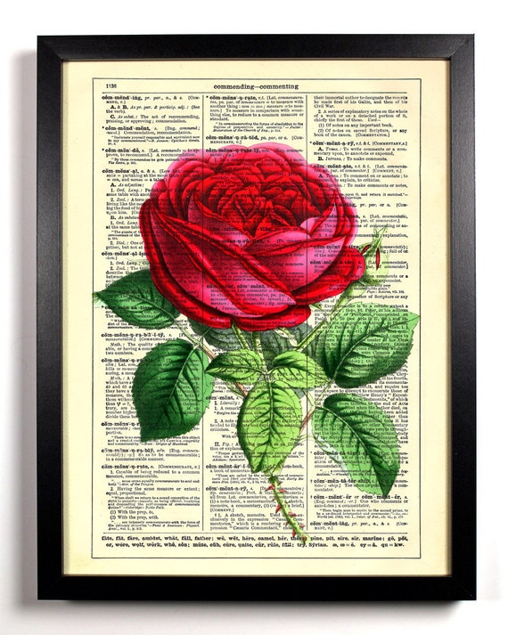 Garden Collection 1, Home, Kitchen, Nursery, Bath, Office Decor, Wedding Gift, Eco Friendly Book Art, Vintage Dictionary Print 8 x 10 in.