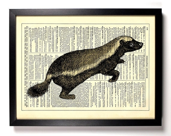 Honey Badger, Home, Kitchen, Nursery, Bathroom, Office Decor, Wedding Gift, Eco Friendly Book Art, Vintage Dictionary Print, 8 x 10 in.