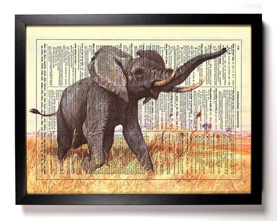 African Safari, Home, Kitchen, Nursery, Bath, Office Decor, Wedding Gift, Eco Friendly Book Art, Vintage Dictionary Print 8 x 10 in.