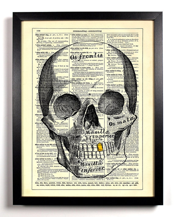 Stay Gold Skull, Home, Kitchen, Nursery, Bath, Office Decor, Wedding Gift, Eco Friendly Book Art, Vintage Dictionary Print 8 x 10 in.