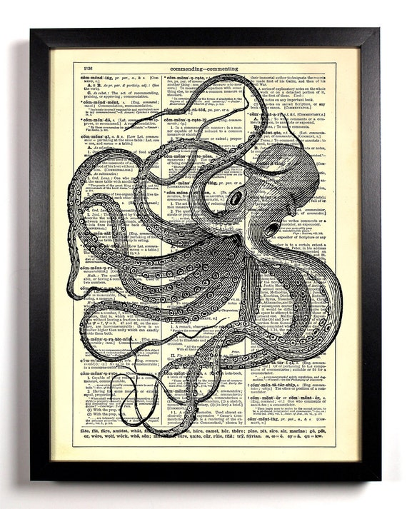 Stretched Out Octopus, Home, Kitchen, Nursery, Bath, Office Decor, Wedding Gift, Eco Friendly Book Art, Vintage Dictionary Print, 8 x 10 in.