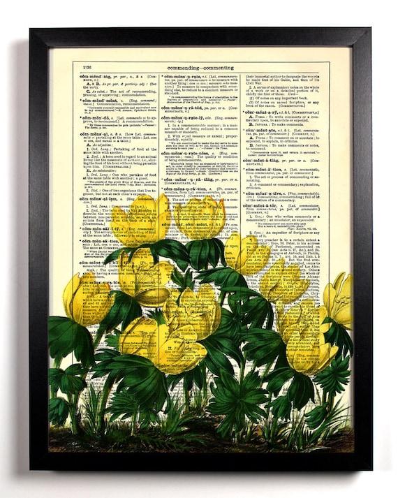 Yellow Flower Fields, Home, Kitchen, Nursery, Bath, Office Decor, Wedding Gift, Eco Friendly Book Art, Vintage Dictionary Print 8 x 10 in.