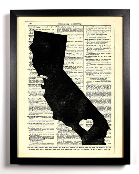 California State Map, Home, Kitchen, Nursery, Bath, Office Decor, Wedding Gift, Eco Friendly Book Art, Vintage Dictionary Print 8 x 10 in.