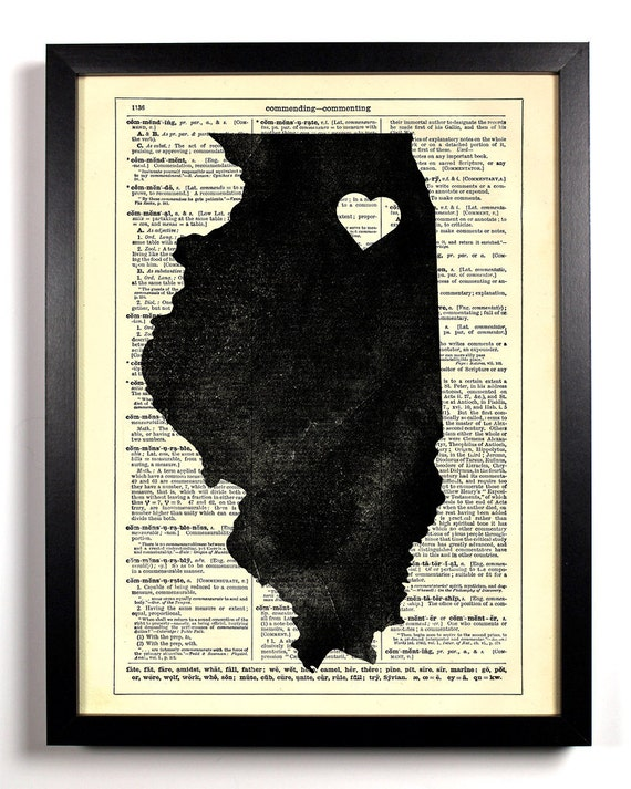 Illinois State Map, Home, Kitchen, Nursery, Bath, Office Decor, Wedding Gift, Eco Friendly Book Art, Vintage Dictionary Print 8 x 10 in.