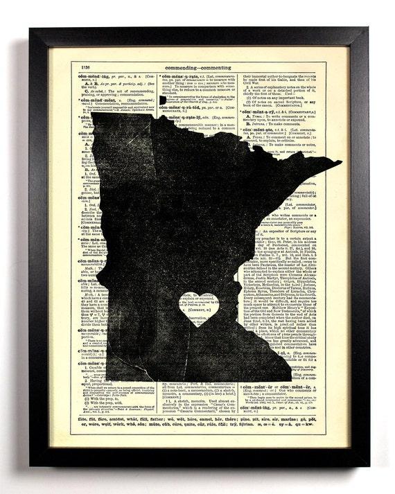 Minnesota State, Home, Kitchen, Nursery, Bathroom, Office Decor, Wedding Gift, Eco Friendly Book Art, Vintage Dictionary Print, 8 x 10 in.