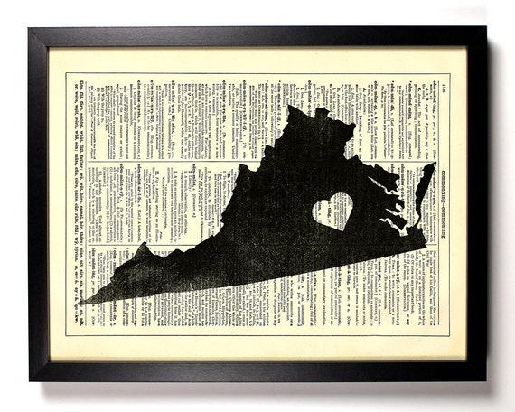 Virginia State Map, Home, Kitchen, Nursery, Bath, Office Decor, Wedding Gift, Eco Friendly Book Art, Vintage Dictionary Print 8 x 10 in.