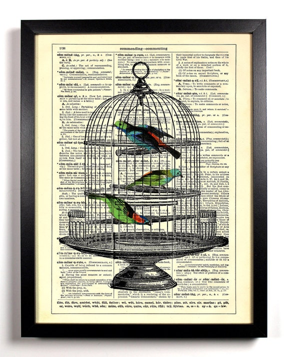 Pet Birds In Wire Cage, Home, Kitchen, Nursery, Bath, Office Decor, Wedding Gift, Eco Friendly Book Art, Vintage Dictionary Print 8 x 10 in.