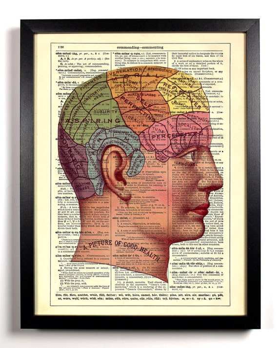Parts Of The Brain Anatomy, Home, Kitchen, Nursery, Office Decor, Wedding Gift, Eco Friendly Book Art, Vintage Dictionary Print 8 x 10 in.